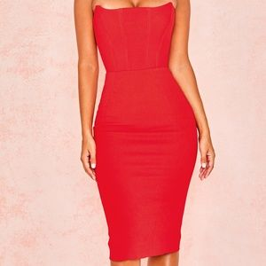 HOUSE OF CB 'NIAZ' RED STRAPLESS DRESS